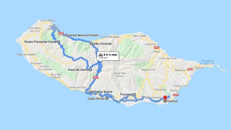 Madeira Streckenkarte Inseltour Nord